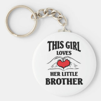 Denna flicka älskar henne lite brodern rund nyckelring