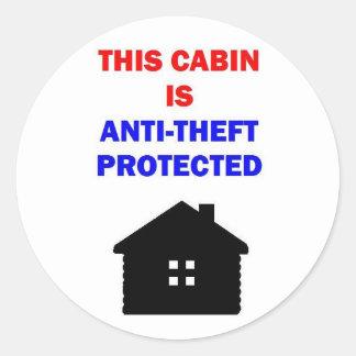 Denna kabin är den skyddade Anti stölden Runt Klistermärke