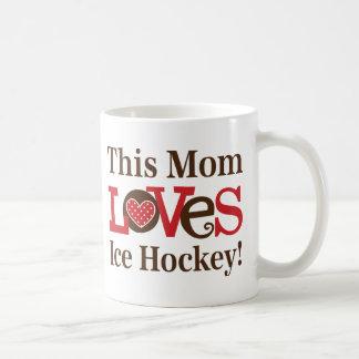 Denna mamma älskar ishockey kaffemugg