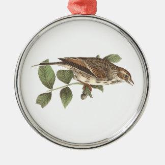 Denpåskyndade sparrowen(Fringillagramineaen) Julgransprydnad Metall