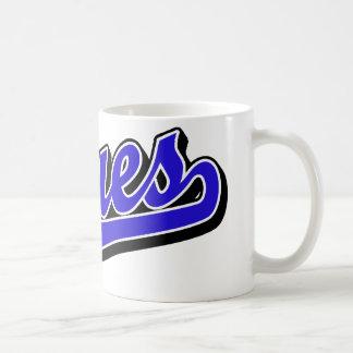 Deppighet i blått kaffemugg