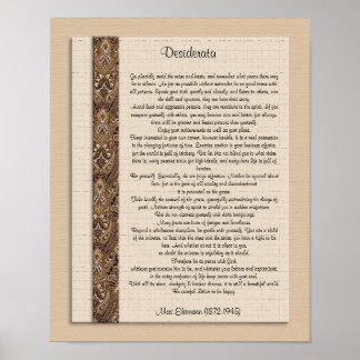 """Desiderata """"önskade bruntdesign för saker) poster"""