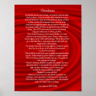 """Desiderata """"önskade saker"""", prosa på rött poster"""
