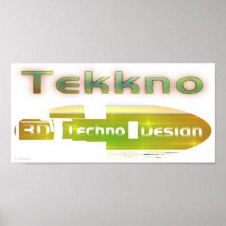 design 1a för techno 3d posters