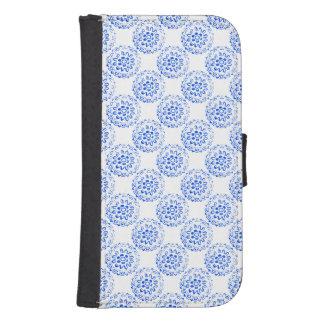 Design 2 för motiv för blåttMandalasrunda + Galaxy S4 Plånbok