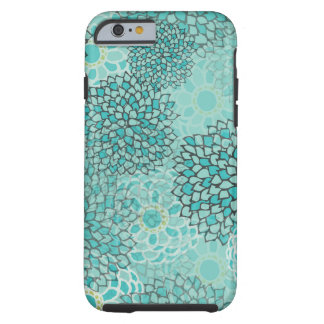Design för aquamarine- och Mintblommabristning Tough iPhone 6 Case