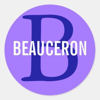 Design för Beauceron avelMonogram Runt Klistermärke