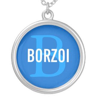Design för BorzoiavelMonogram Halsband Med Rund Hängsmycke