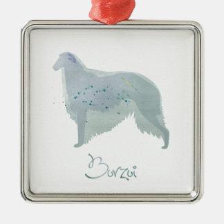 Design för Borzoihundvattenfärg Julgransprydnad Metall