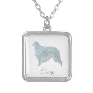 Design för Borzoihundvattenfärg Silverpläterat Halsband