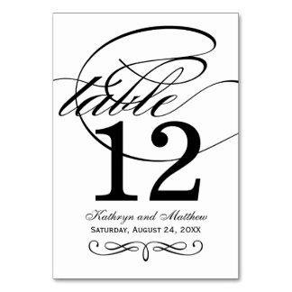 Design för Calligraphy för bordsnummerkort | svart