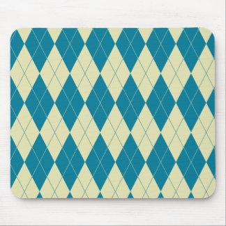 Design för coola för Argyle blått- och vitkräm Musmatta