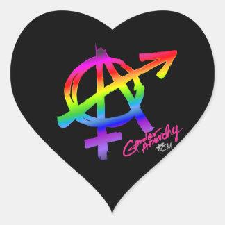 Design för genderanarkiregnbåge - hjärta hjärtformat klistermärke