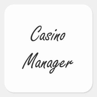 Design för jobb för kasinochef konstnärlig fyrkantigt klistermärke