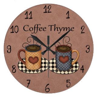 Design för kaffe för kök för Folk konst för land Stor Rund Klocka