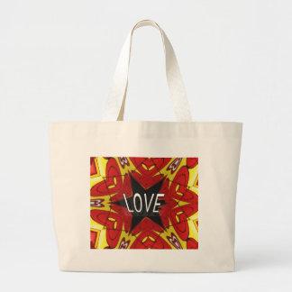 """Design """"för kärlek"""" för röd gul Hippie Retro Jumbo Tygkasse"""