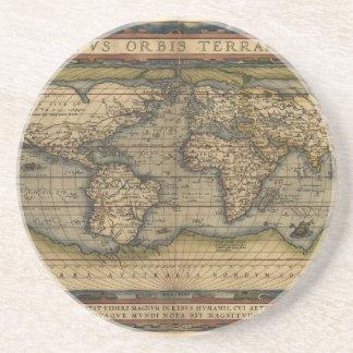 Design för kartbok för vintagevärldskarta historis glasunderlägg