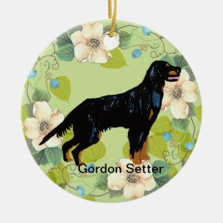 Design för löv för grönt för ~ för Gordon Setter Julgransprydnad Keramik