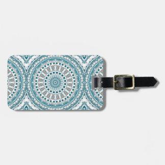 Design för Mandala för för havblått och vit Bagagebricka