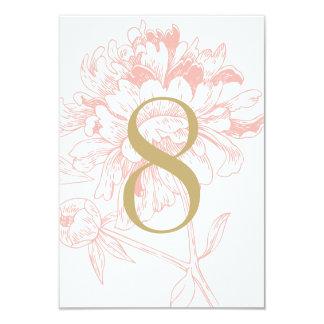 Design för pion för korall för bröllopbordsnummer 8,9 x 12,7 cm inbjudningskort