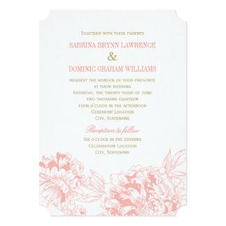 Design för pion för korall för bröllopinbjudan | 12,7 x 17,8 cm inbjudningskort