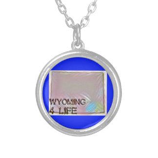 """Design för pride för karta """"för Wyoming 4 liv"""" Silverpläterat Halsband"""