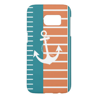 Design för rand för nautisk turkosvit orange galaxy s5 skal