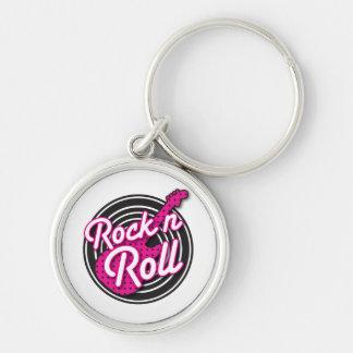 Design för rulle för sten N rockabilly rekord- Rund Silverfärgad Nyckelring