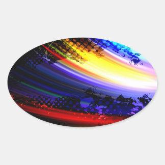 Design för Splatter för regnbågeFractalkonst Ovalt Klistermärke