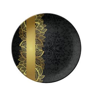 Design för tryck för mönster för guldsvartsnöre porslinstallrik