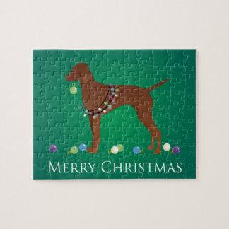 Design för Vizsla hundgod jul Pussel