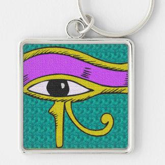designad tie för egyptisk påverkan fyrkantig silverfärgad nyckelring