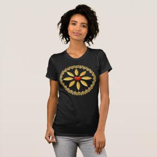 Designade T-tröja och dekorera-Guld och röd hjärta Tröja