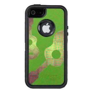 Designat mobilt fodral för grön gitarr