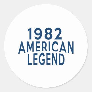 Designer 1982 för amerikanlegendfödelsedag runt klistermärke