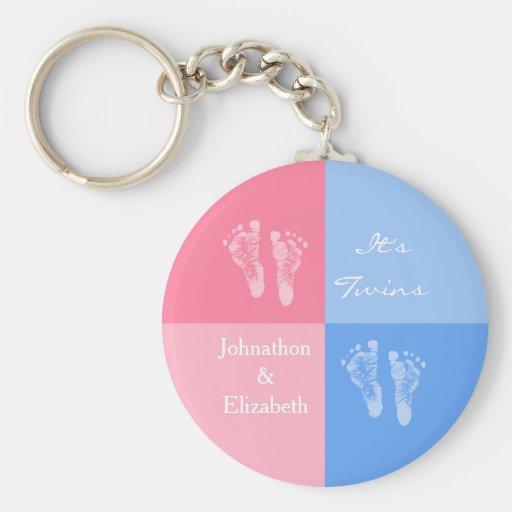 Dess tvilling- för rosababy för pojke och för flic nyckelring