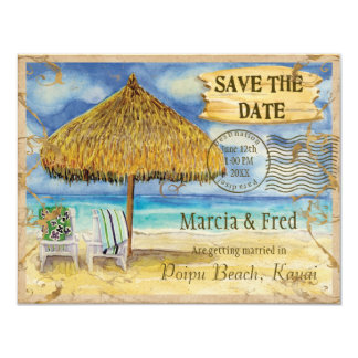 Destinationsparadis, tropisk strandspara datera 10,8 x 14 cm inbjudningskort