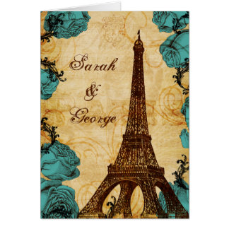 det aquavintageeiffel torn Paris tackar dig Kort