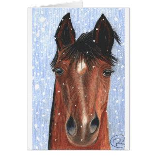 Det är det Snowing hästhälsningkortet Hälsningskort