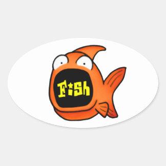 Det är en fisk ovalt klistermärke
