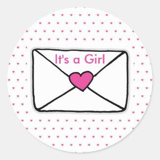 Det är en flicka, baby shower somkärlek postar runt klistermärke