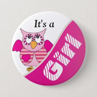 Det är en flicka - gullig rosa uggla mellanstor knapp rund 7.6 cm