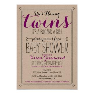 Det är en pojke & en tvilling- baby showerinbjudan 12,7 x 17,8 cm inbjudningskort