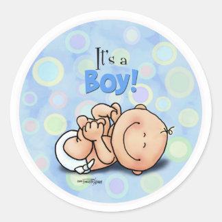 Det är en pojke - grattisklistermärkear runt klistermärke
