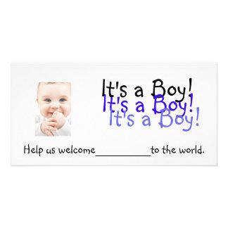Det är en pojke!  Inbjudningar Fotokort
