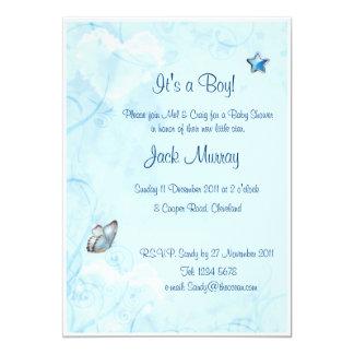 Det är en pojke! Ny lite stjärnababy 12,7 X 17,8 Cm Inbjudningskort