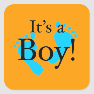 Det är en pojke - Nyfödd baby shower Fyrkantiga Klistermärken