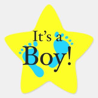 Det är en pojke - Nyfödd baby shower Stjärnformat Klistermärke