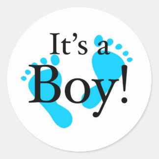 Det är en pojke - Nyfödd baby shower Runda Klistermärken