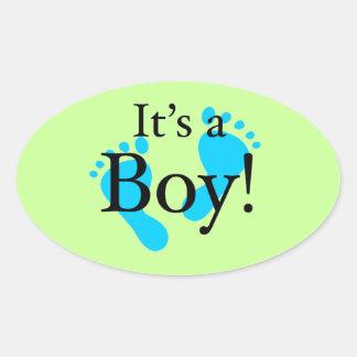 Det är en pojke - Nyfödd baby shower Ovalformat Klistermärke